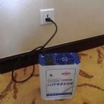 大連のホテルで変圧器を借りました